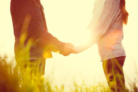 feeling: Young Couple in Love Outdoors Stock Photo