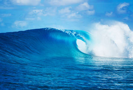 sea waves: Blue Ocean Wave, Epic Surf Stock Photo