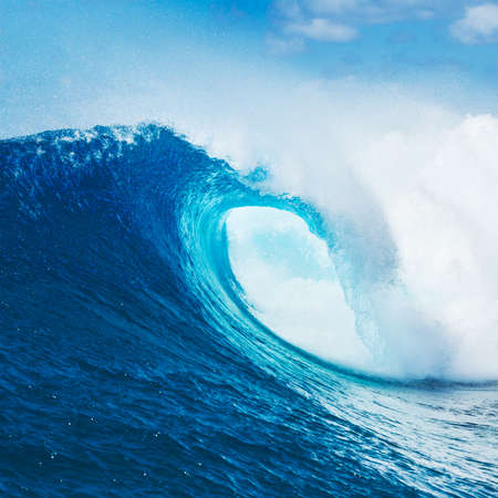 Blue Ocean Wave, Epic Surf Stock Photo