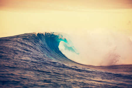 Amazing Ocean Wave Breaking at Sunset, Epic Surf