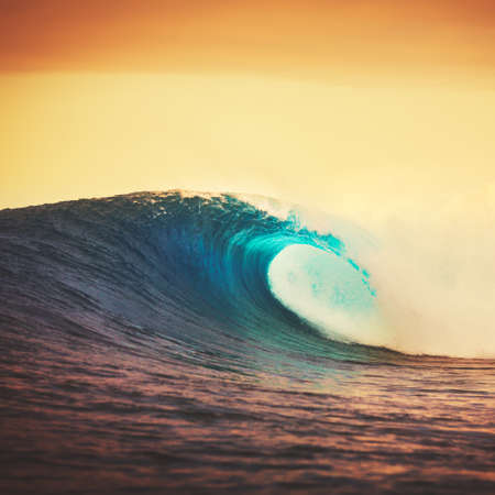 breaking wave: Amazing Ocean Wave Breaking at Sunset, Epic Surf
