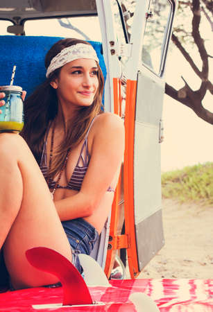surf girl: Beach Lifestyle, Beautiful Young Surfer Girl Having Fun Hanging Out in Vintage Surf Van in Hawaii.