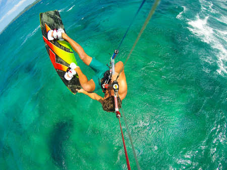 kite: Kite Boarding. Fun in the ocean, Extreme Sport. POV View from Action Camera. Stock Photo