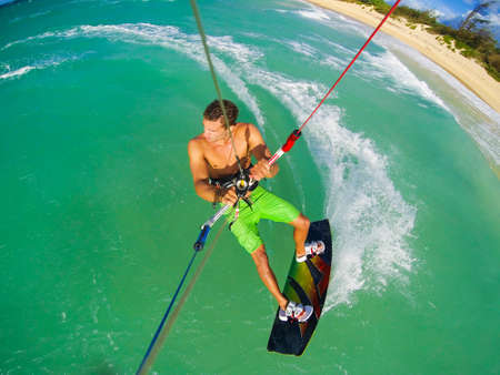 Kite Boarding. Fun in the ocean, Extreme Sport. POV View from Action Camera. Stock fotó