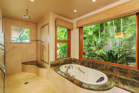 bathroom mirror: Beautiful Bathroom in Luxury Home with Tub and Shower Stock Photo