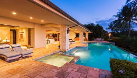 home garden: Beautiful Luxury Home with Swimming Pool at Sunset