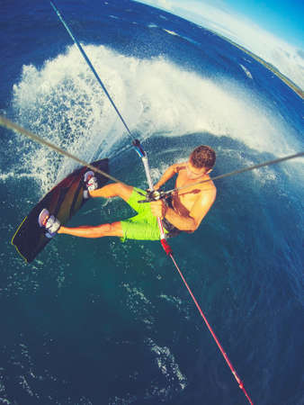 Kite Boarding. Fun in the ocean, Extreme Sport. POV View from Action Camera. Фото со стока