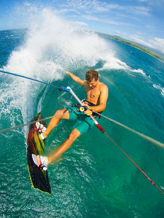 kite surfing: Kite Boarding. Fun in the ocean, Extreme Sport. POV View from Action Camera. Stock Photo