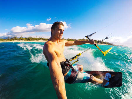 kitesurfing: Kiteboarding. Fun in the ocean, Extreme Sport Kitesurfing. POV Angle with Action Camera