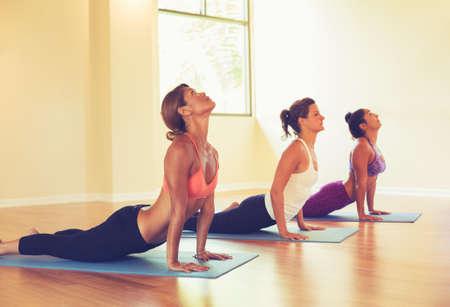 Gruppo di persone rilassante e facendo yoga. Praticare del cobra. Benessere e stile di vita sano. Archivio Fotografico
