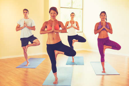 spiritual woman: Group of People Relaxing and Doing Yoga. Wellness and Healthy Lifestyle.