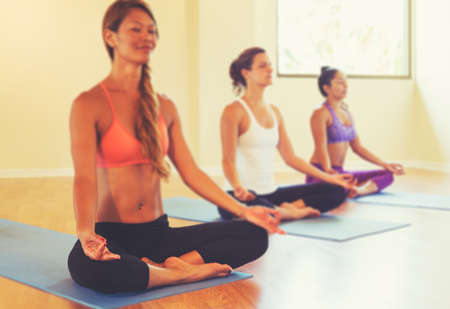 meditation room: Group of People Relaxing and Meditating in Yoga Class. Wellness and Healthy Lifestyle. Shallow Depth of Field.