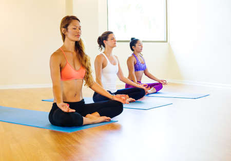 lifestyle: 青年組放鬆練習瑜伽,健康的生活方式。 版權商用圖片