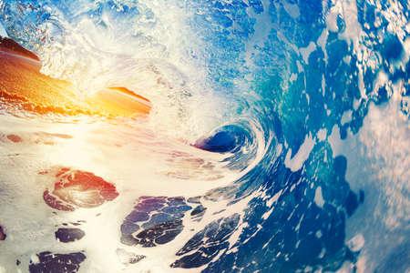 water reflection: Blue Ocean Wave Crashing at Sunrise