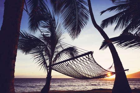 Tropische Hawaiiaanse hangmat bij zonsondergang