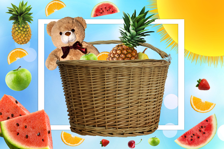 Picnic on a Sunny summer day, the picnic basket is filled with fruit. Daisies and the sun in the company of a Teddy bear on vacation. Toy and fruit in the basket Banco de Imagens
