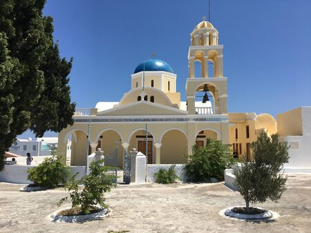 the historical Greek Orthodox church in Santorini, Greece