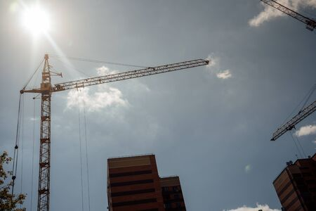 house under construction. modern urban building under construction with a crane Stockfoto