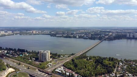 Aerial view of the city and river on a cloudy day in summer. Stockfoto