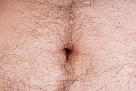 the navel on the body of a man close up. hairy belly male. Stock Photo