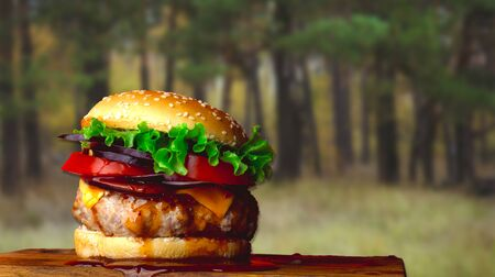 A huge juicy hamburger is on a wooden board against the background of a forest