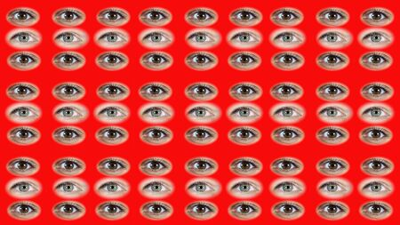 A lot of eyes. Two types of female eyes. A background of the eyes. Eyes are opening and blinking.
