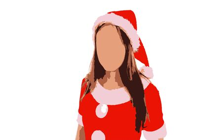 Smiling beautiful young woman in Santa Claus suit on a white background
