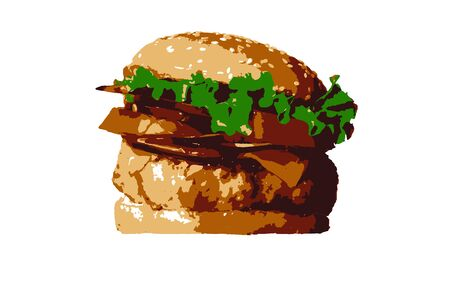 Hamburger or sandwich is the popular fast food for brunch or lunch.