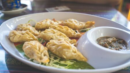 A dish of the tibetan fried momo with a sauce. Momo is a dish of dough with a filling Foto de archivo