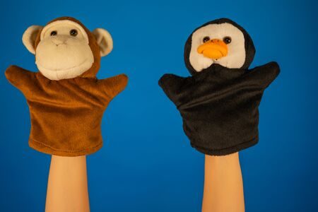 Close-up of hands with puppet monkey and penguin.