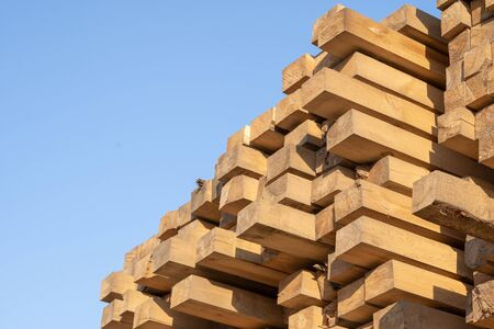 Pine wood timber stack of natural rough wooden boards on building site. Industrial timber building materials