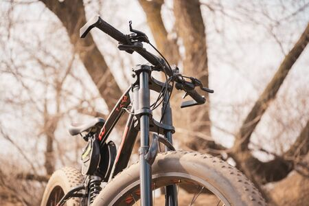 Close-up of bicycle with large wheels in countryside. Mountain bike stands on ground in sunny weather Banque d'images