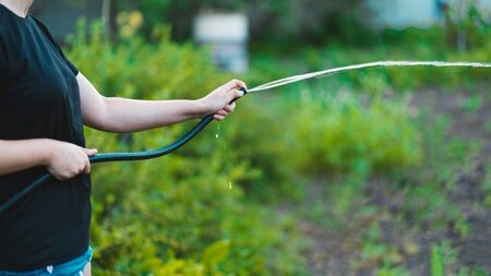 Close up of woman's hand watering vegetable garden from hose. Concept of summer and garden care, organic products and eco-friendly lifestyle. Stock fotó