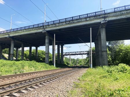 Railway tracks in countryside. Railway on sunny summer day