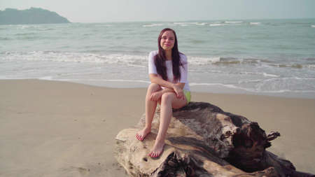 Young woman sitting on log and nodding her head approvingly on seashore. Adult brunette shows gesture of agreement, sitting on driftwood by sea or ocean in bright sunny day.