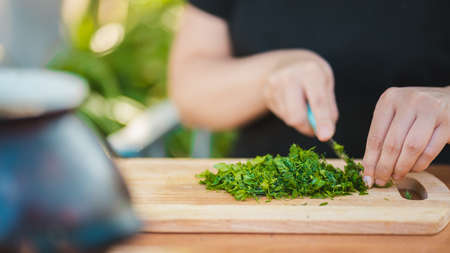 Close up of woman's hands cutting verdure with knife on chopping board. Stok Fotoğraf