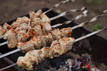 Close up of toasted shashlik on skewers. Succulent barbecue roasting on chargrill.