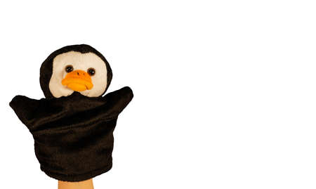 Close up of puppet penguin. Concept of puppet show.