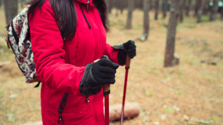 A young woman is engaged in the nordic walking in woods