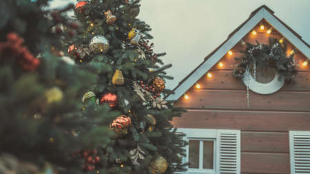 Coniferous trees with decorative adornments around lodge to create festive mood during holiday celebration.