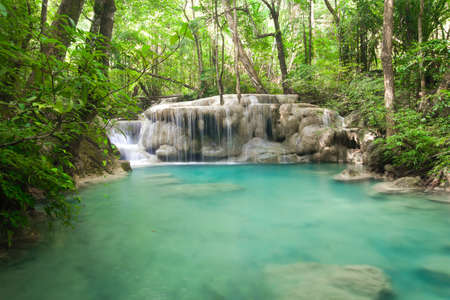 Deep forest waterfall at Erawan waterfall National Park  Stock Photo - 17137551