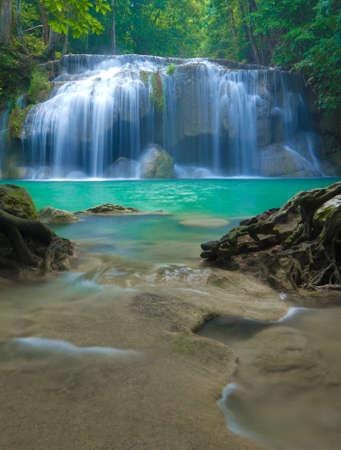 Blue stream waterfall at Erawan waterfall National Park Kanjanaburi Thailand Stock Photo - 17314444