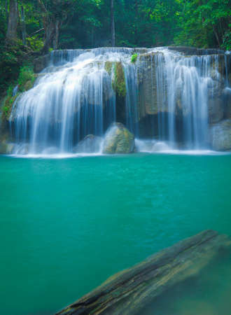 Blue stream waterfall in Kanjanaburi Thailand  Erawan waterfall Nation Park   photo