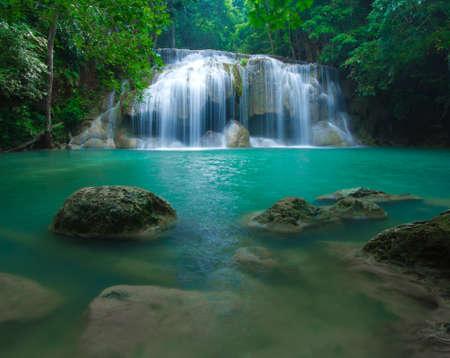 nature landscape: Blue stream waterfall in Kanjanaburi Thailand  Erawan waterfall Nation Park