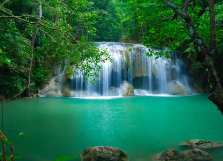 Blue stream waterfall in Kanjanaburi Thailand  Erawan waterfall Nation Park   Stock Photo - 17350788