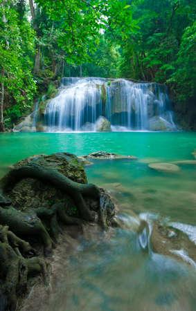 Blue stream waterfall in Kanjanaburi Thailand  Erawan waterfall Nation Park   Stock Photo - 17350794
