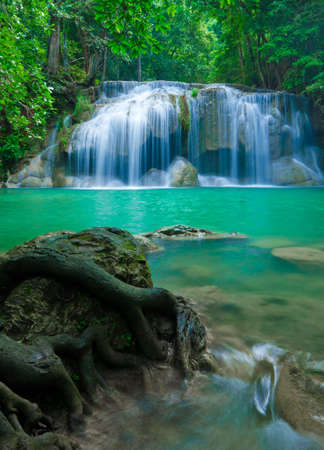 Blue stream waterfall in Kanjanaburi Thailand  Erawan waterfall Nation Park   Stock Photo - 17350787