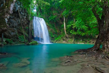 Blue stream waterfall in Kanjanaburi Thailand  Erawan waterfall Nation Park Stock Photo - 17350793