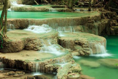 cataract waterfall: Deep forest waterfall in Huay Mae Kamin Kanjanaburi Thailand