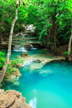 huay: Deep forest waterfall in Huay Mae Kamin Kanjanaburi Thailand
